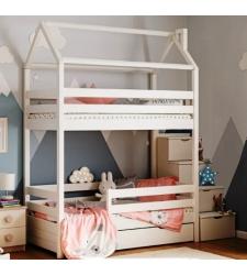Кровать-домик двухъярусная СКАЗКА-2 с лестницей-комодом