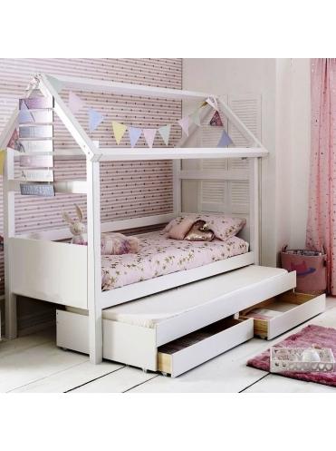 Детская двухъярусная кровать-домик МИА с выкатным спальным местом